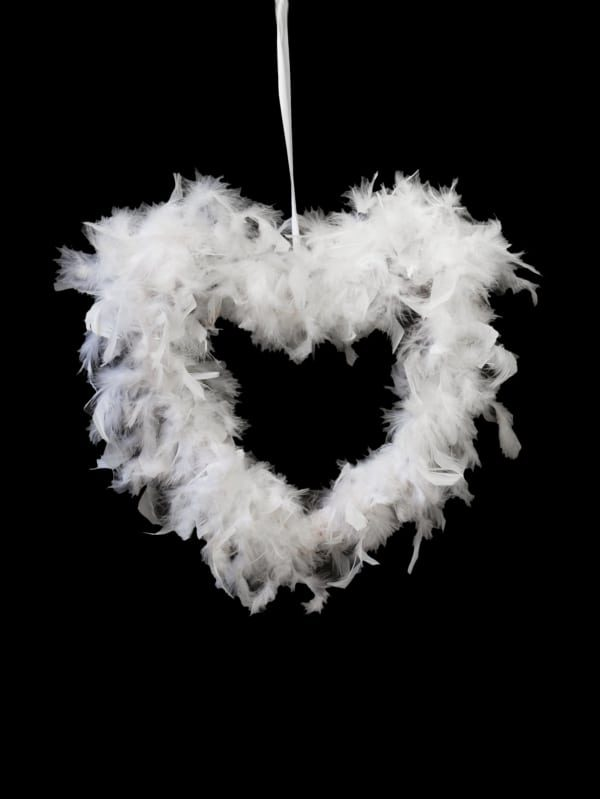 DB026-W Feather Heart Pendant - White