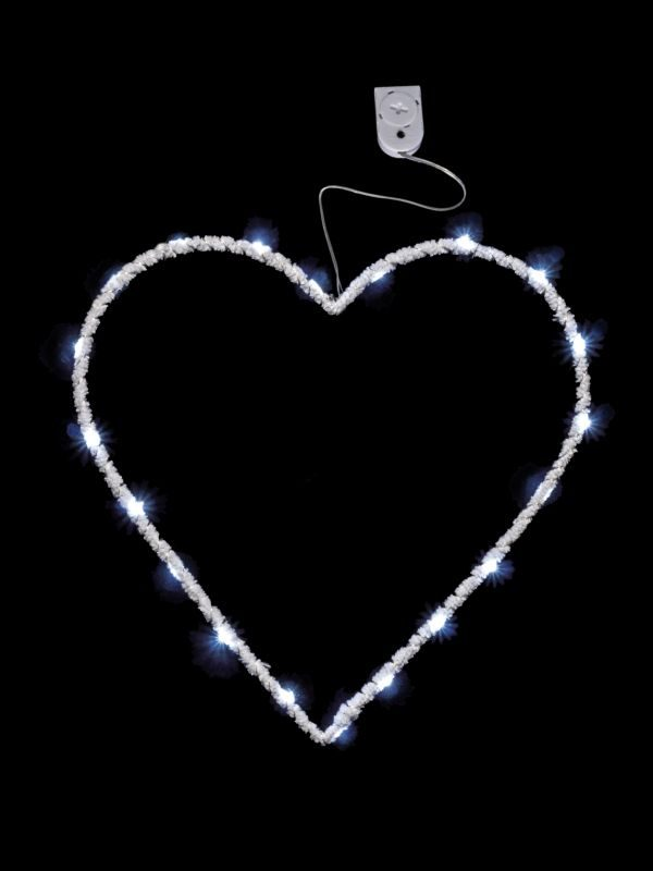 DL070-W Velvet Wire Heart Light - White with Pure White Lights